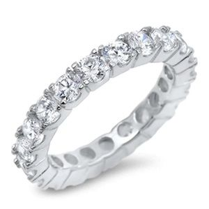 Sterling Silver 4 Prong Round Eternity Band Ring